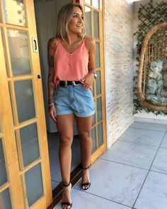 Look with short jeans - College Outfits - Shorts Long Skirt Outfits For Summer, Jean Short Outfits, Fall Outfits, Casual Outfits, Cute Outfits, Fashion Outfits, Cheap Fashion, Fashion 2018, Look Short Jeans
