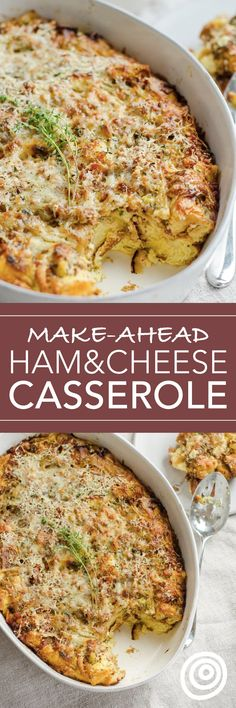Make Ahead Ham and Cheese Breakfast Casserole Recipe. Use up leftover Thanksgiving, Christmas, Easter -- whatever holiday -- ham with this DELICIOUS EASY breakfast or brunch bake. Great for a crowd of in-laws and overnight guests. It may just be the very BEST brunch of all brunch recipes EVER! You'll need bread, onion, bacon or pancetta, eggs, milk, Gruyère cheese, and a few more ingredients.