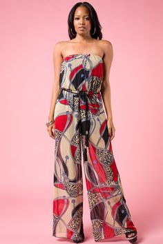 Super Cute Strapless Versace Print Jumpsuit