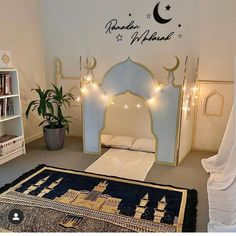 How beautiful is this, a mini majid at home. A great way to inspire and encourage your family/children during this pandemic Eid Crafts, Home Crafts, Ramadan Lantern, Islam For Kids, Kitchen Ceiling Lights, Ramadan Decorations, Prayer Room, Bedroom Accessories, Kids House