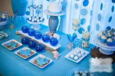 Under the Sea Birthday Party backdrops and decorations and dessert table