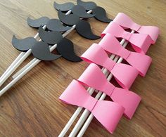 Cupcake Toppers: Gender Reveal Baby Shower - Die Cut Pink Girl Bow & Boy Mustaches on Etsy, $13.50