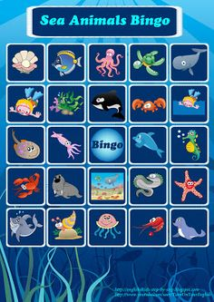 Bingo game to learn sea animals . Get more at http://english4kids-step-by-step.blogspot.com/2013/07/deep-in-ocean-deep-in-sea-song-for-kids.html #English #kids #esl #education
