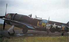 """P-47M 44-21199 LM-X """"Josephine My Flying Machine"""" flown by  Lt. Leo F Butiste of the 62nd Fighter Squadron,56th Fighter Gruop."""
