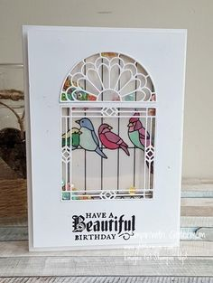 Stampin' Up! shaker card using Graceful Glass dies and vellum, coloured with blends. #stampinup #glittermum