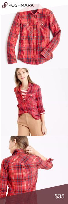 J Crew Petite Boyfriend Top in Cerise Plaid Color: Cerise Plaid/Coral Pink  Size: 4P Condition: Pre-loved (pre-owned), Great Condition! Fabric: 99% Cotton, 1% Elastane Back: 100% Polyester Style: E6013 Retail Price: $89.50 Measurements:  Please refer to photos section for measurements.  Relaxed Fit. Long roll-up sleeves. Button placket. 2 Chest pockets. Machine wash. Super comfy shirt that is perfect for an everyday outfit, any season! J. Crew Tops Button Down Shirts