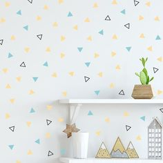 Kid bedrooms alluring decorating planning pin 1695924927 - A cute ideas for a fun kid bedroom. Removable Vinyl Wall Decals, Kids Wall Decals, Eggshell Paint, Aesthetic Space, Triangle Wall, Kids Bedroom, Kids Rooms, Bedroom Ideas, Textured Walls