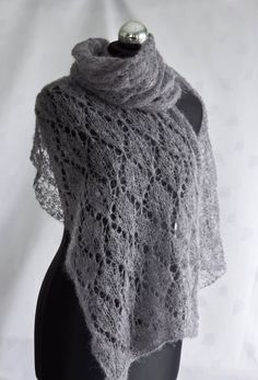 mohair scarf pattern | Grey Mohair Scarf Lacy Wrap MADE TO ORDER by makneta on Etsy
