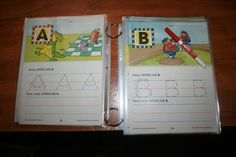 This is a Super Easy way to Re-use your coloring Books.    I went for a Pre-K Helper book.   Now instead of Tracing once, my kids can use a Dry Erase Marker and do it several Times! Even get more uses out of their Favorite Coloring books or Printables!    Materials- Perforated Coloring Book                 - Plastic Sheets/Laminate                 -Book Rings!