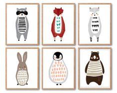 Nursery animal print set Penguin Print Raccoon Print by dekanimal