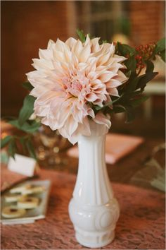 Milk Glass for wedding tables.  Lovely shots of a beautiful wedding with vintage milk glass. ~ Mary Walds Place - Vintage LA Wedding at Carondelet House - The Wedding Chicks