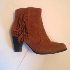 Tan, fringe booties! Super cute tan, fringe booties! There is some scuffing around the toes, but plenty of wear left in these beauties! Shoes of Soul Shoes Ankle Boots & Booties