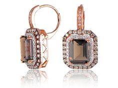 Smokey Topaz And Diamond Huggie Earrings Sapphire And Diamond Earrings, Smokey Topaz, Halo Setting, Stone Rings, Round Diamonds, Rose Gold, Gemstones, Metal, Jewelry