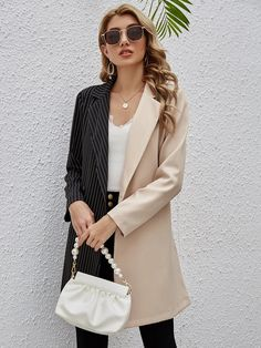 Striped Panel Lapel Neck Belted Blazer | SHEIN USA Blazers, Fashion News, Duster Coat, Belt, Jackets, Clothes, Usa, Color, Outfit