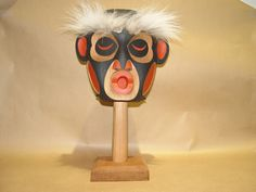 "New Native American Hand Carved ""Dzunukwa"" Rattle by Jay Brabant CREE"