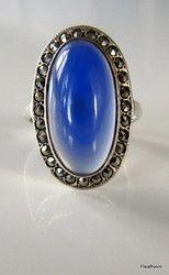 Hopeasormus Vintage Sininen Kivi & Markasiitit   flearoom 39.30 €