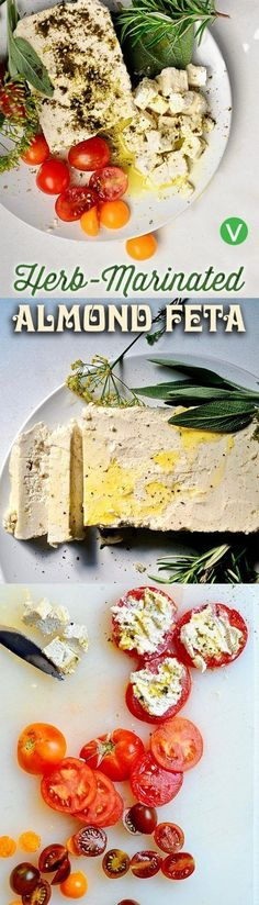 Almond Feta ~ Easy, tangy, creamy delicious, vegan, and gluten free! Dairy Free Recipes, Raw Food Recipes, Vegetarian Recipes, Gluten Free, Cooking Recipes, Vegan Foods, Vegan Snacks, Vegan Dishes, Vegan Feta Cheese