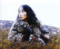Ai Xuan concentrates on the young, particularly small children, in most of his works lends them a sense of innocence in accord with the Zen Buddhist ethos. In Reeds in Chill (above, from 2002), the child seems to meld into the landscape as the color and contours of her coat echo the rocky, snow-capped hillside behind her. The reeds beneath her almost reach up to embrace her against the chill winds.