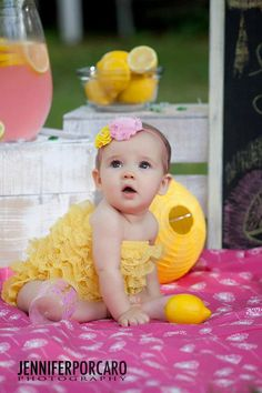 So, Hailey would look adorable in these!!  I'd love to try and set up a pic - if it turned out 1/10th as cute as this pro's did I'd be smiling - Etsy Sale Yellow Bubble Lace petti romper / by Chicabootique, $19.99