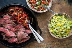 [ Homemade Beef Fajitas With Bell Peppers And Onions Served In Cast Iron Skillet. Pico De Gallo Salsa And Guacamole On Side. Spicy Steak, Beef Fajitas, Peppers And Onions, Prosciutto, Tex Mex, Cilantro, Mozzarella, Guacamole, Mexican Food Recipes