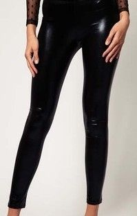 Black Skinny Crop PU Leather Leggings US$17.00