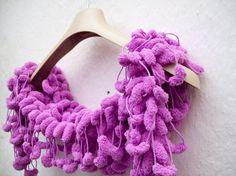 Hand Crochet Scarf-Pompom-
