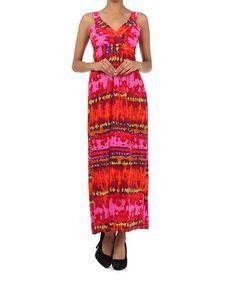 Look what I found on #zulily! Fuchsia Tie-Dye Surplice Maxi Dress #zulilyfinds