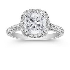 My Engagement Ring... Cushion Cut Diamond in a micropave halo setting :D