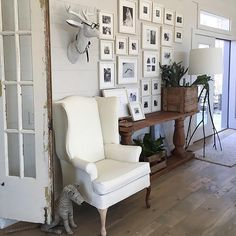 We love how @graydecember mixed vintage finds and our gallery frames to create a beautiful vignette in her home.  Notice how she used one color frame to create her gallery wall allowing it to read as one large art installation. #pbstyletip #mypotterybarn #gallerywall by potterybarn