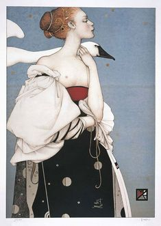 "Michael Parkes ""Pale Swan - 1996"" stone litograph"