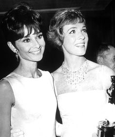 So much iconic beauty in one picture. Audrey Hepburn and Julie Andrews