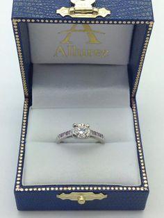 Cathedral Pink Sapphire & Diamond Engagement Ring Palladium (0.20ct) - Allurez.com