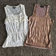 2 tank bundle Both in excellent condition. Cream one is size medium from Express. Sequin one is Pink Rose size large. Express Tops Tank Tops
