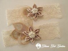 Ivory Lace Wedding Garter Set Ivory Blonde by GibsonGirlGarters, $46.00
