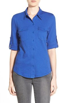 Women's Caslon Roll Sleeve Cotton Knit Shirt, Size