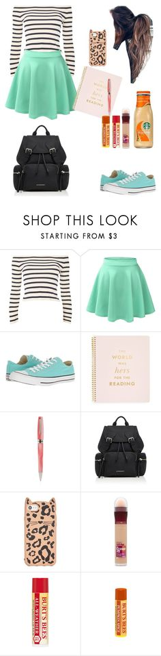 """""""It's Friday!!"""" by londonblossom ❤ liked on Polyvore featuring Topshop, LE3NO, Converse, Kate Spade, Montegrappa, Burberry and Maybelline"""