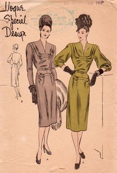 "Vogue Design speciale s-4734 rara Vintage anni ' 40 da cucire modello abito busto 32"" di SuesUpcyclednVintage su Etsy https://www.etsy.com/it/listing/216393907/vogue-design-speciale-s-4734-rara"