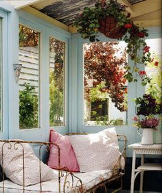 porch painted blue and other colors - how do I like this look?this is what you need on your porch off the bedroom. I love this old iron bed made into a couch Outdoor Rooms, Outdoor Living, Indoor Outdoor, Outdoor Daybed, Interior Exterior, Interior Design, Sleeping Porch, Design Jardin, Ivy House