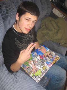 Ryan holding Sam's ßlackbook! (2010)