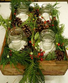 """slow decor"" table with   wood box +jars +salt +candles +pines + berries/ diy xmas"