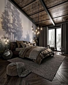 For those looking to make their bedroom look good, adopting a modern bedroom design style isn't actually a bad idea. Here are some easy ways you can redo your bedroom - Home Decor Dark Cozy Bedroom, Bedroom Modern, Bedroom Small, Bedroom Rustic, Contemporary Bedroom Decor, Bedroom Country, Bedroom Romantic, Rustic Bedding, Boho Bedding