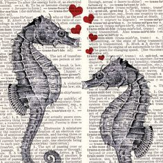 SEAHORSE LOVE  dictionary art  book page art print by Vintagraphy, $9.00