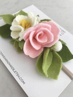 Fieltro flor diadema cinta nylon