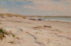 """Beach Scene,"" Frederick Porter Vinton, 1898, Oil on panel, 6 x 9-1/2"", Private collection.  This is probably a view of Second Beach in Middletown.  Frederick Vinton married a Annie Pierce of Newport in 1883.  He wrote an inscription on the back of the painting, ""To my friend / Evelyn Benedict / Dec. 25, 1898 / Frederick P. Vinton"".  Ms. Benedict was also a Newport resident."