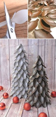 Make your home look festive for less this holiday season with easy DIY dollar store Christmas decor ideas Wreaths candles centerpieces wall art ornaments vases gifts and more Plastic Spoon Christmas Tree Try these unique Christmas trees this year u Cheap Christmas Trees, Dollar Store Christmas, Outdoor Christmas Decorations, Christmas Diy, Holiday Crafts, Christmas Centerpieces, Christmas Cards, Tree Centerpieces, Handmade Christmas Tree