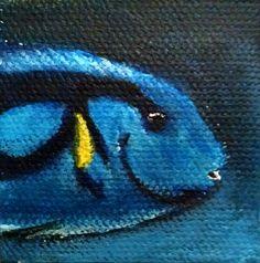 Blue fish acrylic painting