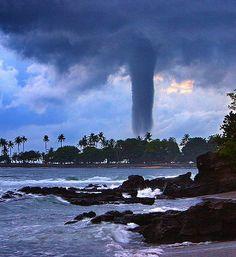 Big Tornado hits Senggigi beach, the most popular beach in Lombok, Indonesia, on December 29, 2007