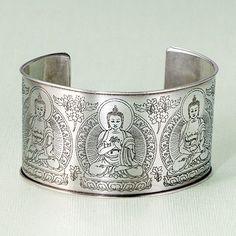 Five Dhyani Buddhas Cuff Bracelet:DharmaCrafts meditation supplies