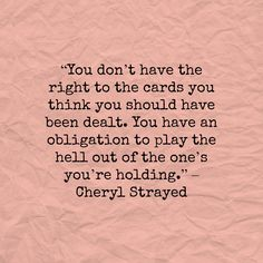 play the cards you re dealt meaning