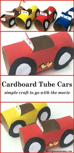 Does your child love the Disney Cars movies? These simple cardboard tube cars are the perfect craft. Lightning McQueen craft,Disney Cars craft,Cars 3 craft # Easy Crafts for summer If you have a Cars fan, they'll love this simple craft! Kids Crafts, Movie Crafts, Jar Crafts, Diy And Crafts, Craft Projects, Kids Diy, Craft Ideas, Simple Crafts, Diy Ideas